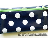 Cash envelope system budget wallet with 6 tabbed dividers | navy & white dot laminated cotton with green zipper