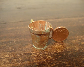 Miniatures  dollhouse copper bucket oxidated