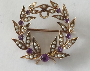 amethyst 14k gold pearl victorian wreath brooch