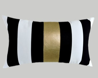 "Decorative Pillow, Home Decor, Striped Black-White Cotton Lumbar pillow case, Gold Faux Leather accent, fits 12""x20"" insert."