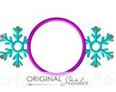 Winter Snowflake Monogram Applique and Embroidery Digital Design File  4x4 5x7 8x8 6x10