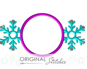 Winter Snowflake Monogram Applique and Embroidery Digital Design File  4x4 5x7 8x8 6x10