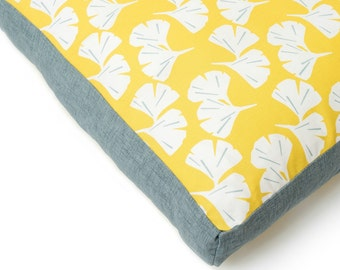 Waterproof Dog Bed. Yellow waterproof cat bed. Large dog bed. Ginkgo leaf washable designer pet bed. Free Shipping. Dog gift. CharlieCushion