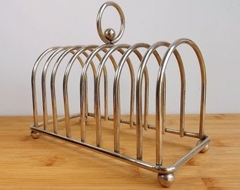 Large silver plated toast rack for eight pieces of toast, or a mail rack