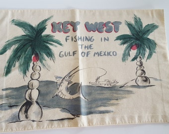 Key West Fishing in the Gulf of Mexico Printed Fabric Vintage