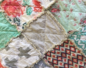 King Rag Quilt - ReCollection Katarina Roccella - Coral - MInt - Gray - Modern Handmade Bedding