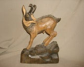 "Antique Hand Carved WOOD Majestic Mountain GOAT SCULPTURE Black Forest Carving 12"" Tall"