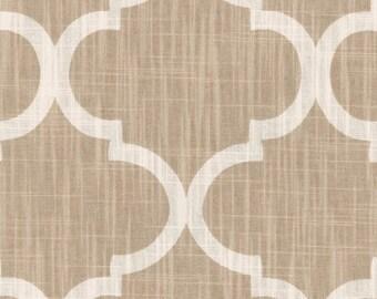 "Two 96"" x 50""  Custom Curtain Panels - Rod Pocket Panels - Quatrefoil Tile Pattern -  Tan Taupe"