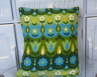 VINTAGE Cotton Barkcloth Pillow Cushion FABRIC 1960s Retro Floral Cotton Flower Power
