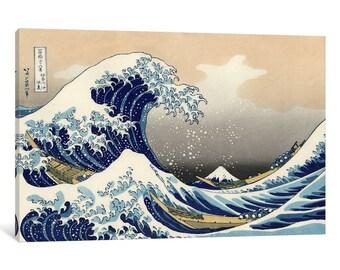 """iCanvas """"The Great Wave at Kanagawa, 1829"""" Gallery Wrapped Canvas by Katsushika Hokusai"""