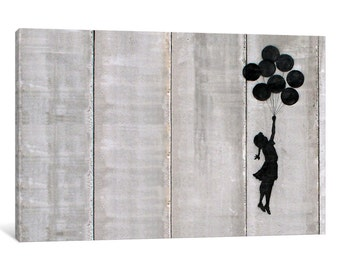 iCanvas Flying Balloons Girl Gallery Wrapped Canvas by Banksy