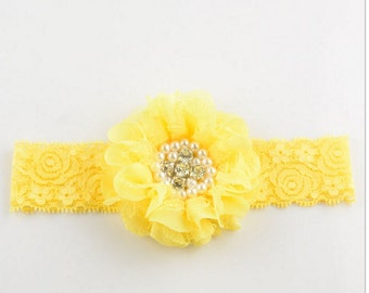 Golden Yellow Lace Chiffon Layered Flower on Lace Headband Baby Girls to Toddler Diamond & Pearl Center Embellishment Vintage Photo Prop