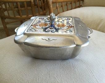 Cellini-Craft casserole Argental Arts and Crafts California art tile insert Art Deco Mid-Century Argental