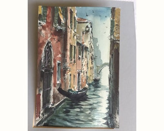 Modernist watercolor Venice Italy 1950s 1960s original art archtecture canals gondolas Venezia signed Vasco