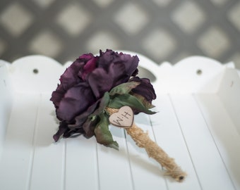 Burlap Guest book pen  select flower showing purple peony pen
