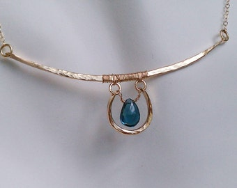 Bar and Horeshoe Hammered Necklace with London Blue Topaz MADE TO ORDER