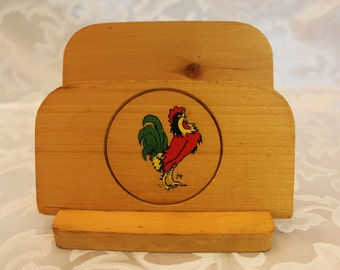 Vintage Wood Napkin Holder - Rooster - Country Rustic Rooster Design - Mail Holder