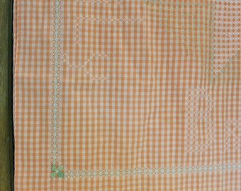 Hand Embroidered Chicken Scratch Tablecloth