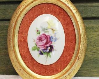 Floral roses oval framed porcelain cameo style
