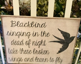 Wooden Sign with The Beatles song Blackbird lyrics
