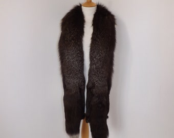 Vintage 1940s real silver frosted fox fur brown stole wrap scarf boa collar double pelt