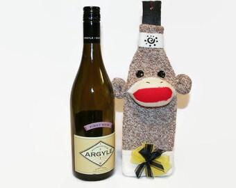 Sock Monkey Wine Bottle Cosy, Bottle Cosy, Sock Monkey Bottle Cosy, Wine Lover's Gift, Sock Monkey Gift, Wine Bag
