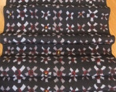 Vintage Mid Century Mod Japanese Kimono Fabric - (4) Panels - Black w/ Gray / Red / Yellow Flowers.