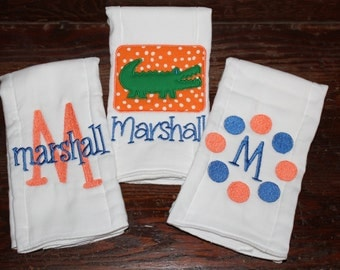 Set of 3 Florida gators monogrammed/appliqued burp cloths-baby boy baby girl gift-baby shower-hospital-coming home gift-personalized-unique