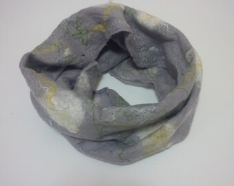 SALE, Felted, infinity, cobweb,scarf, grey, white - Dandelion