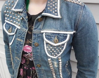 Women's Small Punk Studded Jacket