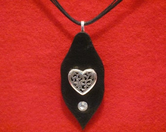 heart pendant. necklace pendant with heart and crystal, leather pendant necklace, Leather corded pendant