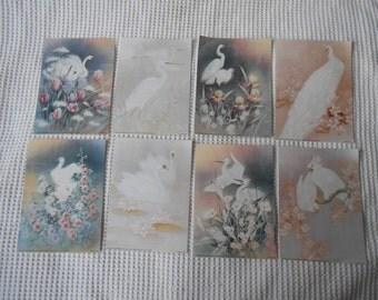 8 White Bird Art Prints Paper Art Pages Vintage ephemera Wedding Engagement