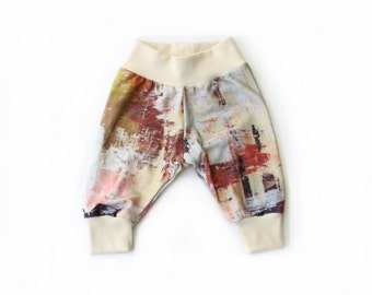 infant pants - original painting > original fabric / pull on baby pants