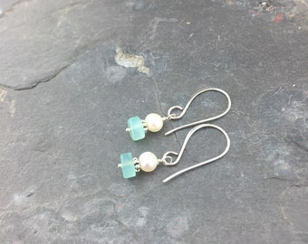Genuine Aquamarine Freshwater Pearl Sterling Silver Earrings Pam Hurst Designs Jewelry March Birthstone