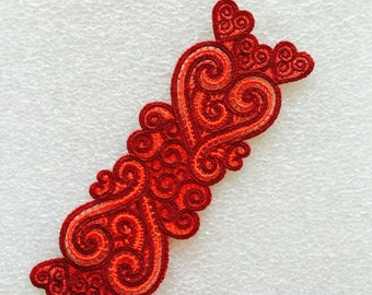 Love Bookmark, Hearts Bookmark, Lace Bookmark,Valentin Day, Embroidered Bookmark, Red