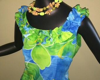 Vintage 60s 70s Hawaiian Mini Tiki Oasis Dress Ruffled Lei Neckline Sexy Wiggle Dress Pin UP Bombshell Sheath Blue Green Waltah Clarke's SM