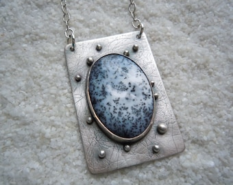 Dendrite Opal and Silver Necklace Artisan Jewelry