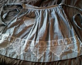 Vintage Half Apron Black &White Gingham Cross Stitch 50's