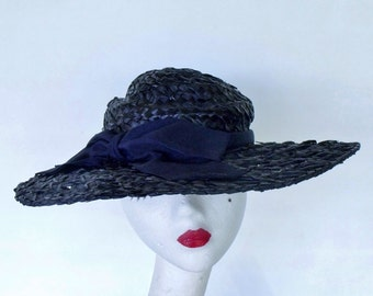 Deep Blue Ladies Sun Hat High Fashion Raffia Wide Brim Vintage 60s Jean Allen by Gage