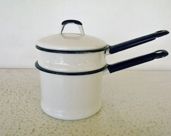 Small Enamelware Double Boiler White with Cobalt Blue Rim