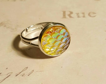 Yellow Dragon Scale Ring Mermaid Scales Ring Mermaid Tail Dragon Gift Mermaid Gift Fish Scales Mermaid Jewellery