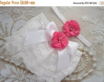 SALE 25% OFF - White Lace Bloomers with a Satin Bow and Hot Pink Flower AND/Or Flower Headband, newborn photos, by Lil Miss Sweet Pea Boutiq