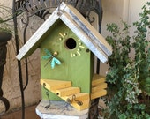 Birdhouse/Green-Decorative-Functional-Unique-Designer-Bird-House/Garden Art/Handmade-Birdhouses For Gardening Birds, Item #460502110