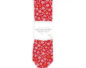 Red Kimono - Skinny Tie - Wedding - Monogram - Groom