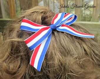 4th of July hair bow, red white and blue stripes hairbow