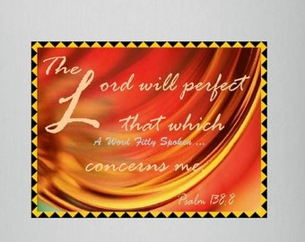 "Christian Fridge Magnet ""The Lord will Perfect..."" Psalm 138 Word Art Bible Verse, Encouragement Refrigerator Magnet MG-1031"