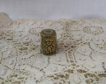 Vintage Angle Thimble Damascene Souvenir of Spain Brass