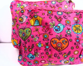 Little and big pink Toiletry Bags - Cute pattern with lace zipper pouches - cosmetic bags