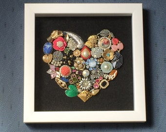 Vintage Jewelry Heart Shadow Box