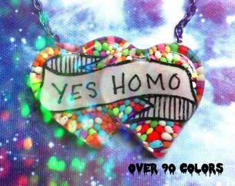 Yes Homo Resin Necklace, LGBTQIA, Gay, Feminist, Queer